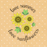 Vector banner template with yellow sunflowers and leaves on kraft paper. Used for scrap booking, greeting card, wrapping paper Royalty Free Stock Images