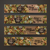 Vector banner templates doodles coffee theme Stock Photos