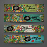 Vector banner templates with doodles summer Royalty Free Stock Photography