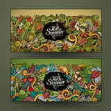 Vector banner templates with doodles summer Stock Photography