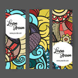 Vector banner templates set with doodles autumn Stock Photos