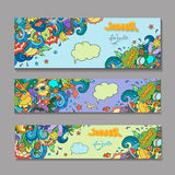 Vector banner templates set with doodles summer Royalty Free Stock Image