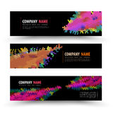 Vector banner templates set with geometry spectrum. Royalty Free Stock Images