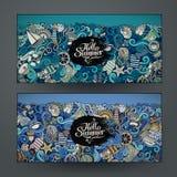 Vector banner templates set with marine theme Stock Photos