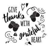 Vector banner for Thanksgiving Day decorated acorns on chalk style and abstract ornate. Vector illustration. Thanksgiving card. Modern calligraphy phrase stock illustration