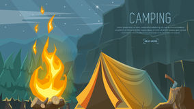 Vector banner on the theme of Camping, Hiking, Climbing, Walking. Sports Royalty Free Stock Images