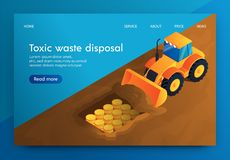 Vector Banner Toxic Waste Disposal Underground. Storage very Hazardous Waste in Bunker for Radioactive Substances. Waste will Break up into Elements royalty free illustration