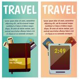 Vector banner with travel items. Flat illustration. Tablet, ticket, passport, notepad, notebook, documents. Vector banner with travel items. Flat illustration Royalty Free Stock Photography