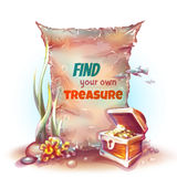 Vector banner with treasure chest in ocean.  Royalty Free Stock Photos