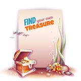 Vector banner with treasure chest in ocean.  Stock Images