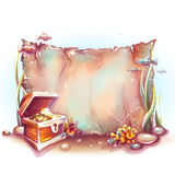 Vector banner with treasure chest in ocean Stock Photos