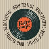 Banner for retro music festival with vinyl record vector illustration