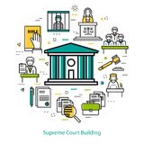 Supreme Court Building - round concept. Vector banner on white background of supreme Court Building - round concept. Courthouse and legal icons stock illustration