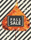 Fall sale banner with bright autumn poplar leaf. Vector banner with words Fall sale. Can be used for flyers, banners or posters. Vector illustration with royalty free illustration