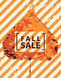 Fall sale banner with bright autumn poplar leaf. Vector banner with words Fall sale. Can be used for flyers, banners or posters. Vector illustration with vector illustration