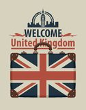 Tourist banner with suitcase and flag of uk Stock Photos