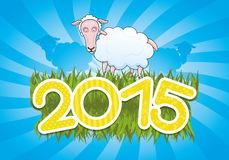 Vector banner. 2015 year. Cartoon sheep Stock Photo