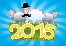 Vector banner. 2015 year. Cartoon sheep Royalty Free Stock Images