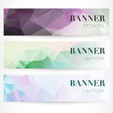 Vector banners with abstract polygonal mosaic background. Modern Royalty Free Stock Images