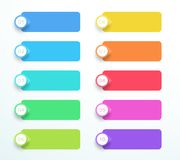 Vector Banners With Arrow Point Markers Number 1 to 10. 10 colorful banner infographic elements with 3d arrow number points and editable, transparent drop Stock Photography