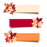 Vector banners with autumn leaves. Set of three vector red, orange and beige banners with autumn leaves Royalty Free Stock Images