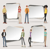 Vector banners / backgrounds with business people. Stock Image