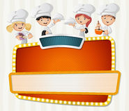 Vector banners backgrounds with cartoon chefs cooking and holding tray with food. Stock Photo