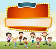 Vector banners backgrounds with cartoon family. Stock Photos