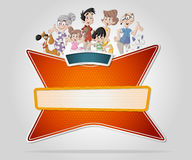 Vector banners backgrounds with cartoon family. Stock Photo
