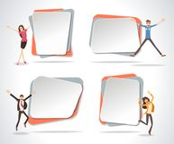 Vector banners / backgrounds with happy people jumping. Infographic template design Royalty Free Stock Images