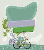 Vector banners backgrounds over forest with man riding bicycle. Royalty Free Stock Image