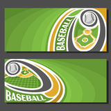 Vector banners for Baseball. Game: baseball ball flying on curve above baseball diamond sports field, 2 tickets to sporting tournament with empty field for Stock Photography