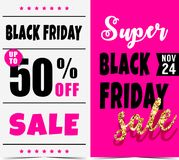 Black Friday. Vector banners for black friday day Stock Photography