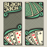 Vector banners for Blackjack. Gamble: green backs playing cards on table top view, invite ticket in casino, blackjack win card combinations, templates with gray stock illustration