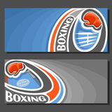 Vector banners for Boxing. 2 template tickets to sports fight with field for title text on blue abstract background, red boxing glove on curve trajectory fly Stock Photo