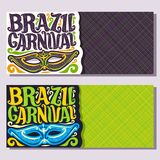 Vector banners for Brazil Carnival. Invite tickets with purple brazilian mask, original font for festive text brazil carnival on green, colorful streamers Royalty Free Stock Photo