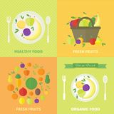 Vector banners, card with fresh fruits and berries. Banners with fresh fruits and berries. Vector illustration in flat style. Concept healthy food royalty free illustration