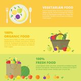 Vector banners, card with fresh fruits. Horizontal banners with fresh fruits and berries. Vector illustration in flat style. Concept healthy food stock illustration