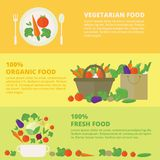 Vector banners, card with fresh fruits and vegetables. Horizontal banners with fresh vegetables and fruits. Vector illustration in flat style. Concept healthy vector illustration