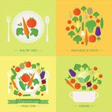 Vector banners, card with fresh fruits and vegetables Royalty Free Stock Image