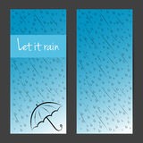 Vector banners, cards, brochures set. Let it rain Royalty Free Stock Images