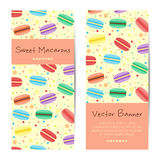 Vector banners, cards with sweet macarons Royalty Free Stock Photography