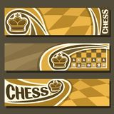 Vector banners for Chess game. With copy space, in layouts headers yellow & brown curved checkerboard squares for title on chess theme, original font for word stock illustration