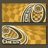 Vector banners for Chess game. With copy space, in layouts yellow & brown curved checkerboard squares for title text on chess theme, original font for word stock illustration