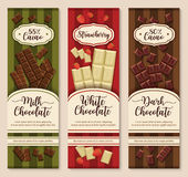Vector banners or chocolate dessert package design Stock Photo