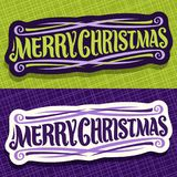 Vector banners for Christmas holidays. Xmas design logo with flourishes, fun christmas decoration, handwritten calligraphy font for quote greeting text merry Stock Images