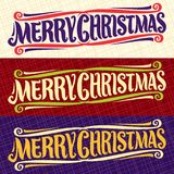 Vector banners for Christmas holidays. Xmas design logo with flourishes, fun christmas decoration, handwritten calligraphy font for quote greeting text merry Royalty Free Stock Images