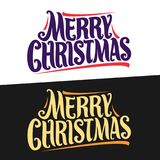 Vector banners for Christmas holidays. Xmas lettering logo on white, fun typography christmas decoration, handwritten calligraphy font for quote greeting text Royalty Free Stock Images