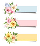 Vector banners with colorful roses and lisianthus flowers. Royalty Free Stock Images