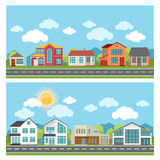 Vector banners with cottage houses in flat design Stock Photo